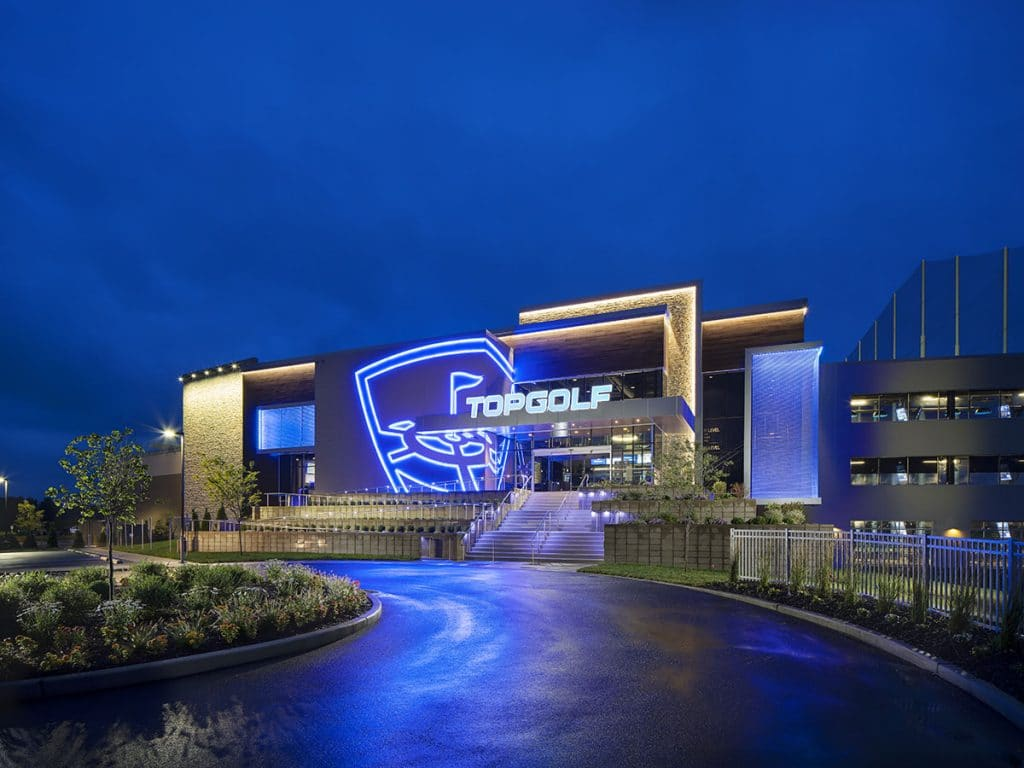 TopGolf building at night